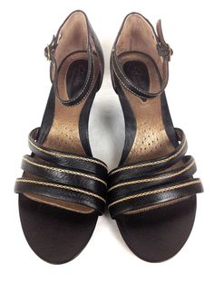 Clarks Womens's Shoes Black Leather Sandals 10 #Clarks #PlatformsWedges #WeartoWork