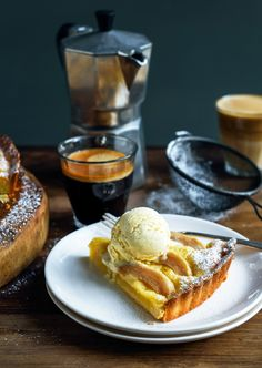 Pear and Almond Frangipane Tart with Honey Semifreddo