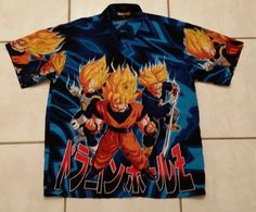 Rare DRAGONBALL Z JAPANESE ANIME GOKU Button Up Shirt Men's XL in Clothing, Shoes & Accessories, Men's Clothing, Casual Shirts | eBay