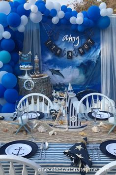 Baby Shower Decorations For Boys, Boy Baby Shower Themes, Baby Shower Fun, Baby Shower Gender Reveal, Baby Shower Parties, Nautical Theme Baby Shower, Nautical Decor Party, Baby Boy Birthday Themes, Babyshower Themes For Boys