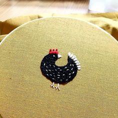 외로운 꼬꼬닥 #예민해서 #주위를 #둘러봐 #embroidery #handembroidery #flower #wildflowers…