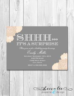 Surprise Party Invitation - Tan and Grey Floral - DIY - Printable