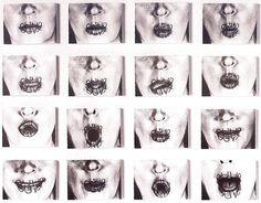 """Helena Almeida. """"Ouve-me"""", 1979, conjuga o desenho de """"suporte"""" e de """"reflexão"""" com a fotografia numa obra onde a face é a """"tela"""", caracteriza-se por ser um trabalho frontal onde existe uma teatralidade corporal,começando pelo título da obra onde a artista quer exprimir algo mas sente-se """"presa"""".."""