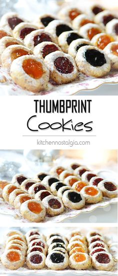 Thumbprint Cookies (Raspberry, Blueberry and Apricot Jam) Thumbprint Cookies with Raspberry, Blueberry and Apricot Jam - delicate hazelnut buttery cookies filled with various fruit jams. True taste of Christmas! Fruit Cookies, Jam Cookies, No Bake Cookies, Cookies Et Biscuits, Filled Cookies, Almond Cookies, Chocolate Cookies, Chip Cookies, Italian Christmas Cookies