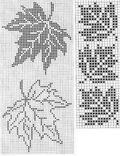 Maple Leaf Pattern ~ Counted cross stitch, or filet crochet. Maple Leaf Pattern ~ Counted cross stitch, or filet crochet. Cross Stitch Borders, Cross Stitch Flowers, Cross Stitch Charts, Counted Cross Stitch Patterns, Cross Stitch Designs, Cross Stitching, Cross Stitch Tree, Knitting Charts, Knitting Stitches