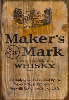 Wooden Sign with Distillery Image