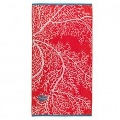 Dive deep into the beautiful coral reef while you relax on the Voyage Aquatique Beach Towel, Coralin from Descamps. A unique colour palette featuring a deep red background and a silhouette of coral with an embroidered fish in the top corner. Generously s Soap Dispensers, Cotton Velvet, Cotton Towels, Ms Gs, Red Background, Unique Colors, Beach Towel, Weaving, Palette