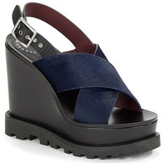 Marc Jacobs Women's Street Stomp Irving Calf Hair & Leather Wedge... (29.655 HUF) ❤ liked on Polyvore featuring shoes, sandals, ink, leather platform sandals, ankle strap wedge sandals, ankle tie sandals, wedge sandals and wedge heel sandals