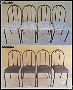 Assentos das cadeiras reformados no corano preto.