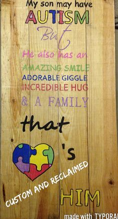 Hey, I found this really awesome Etsy listing at https://www.etsy.com/listing/468315789/autism-awareness-sign-custom-autism