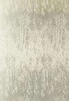 Schumacher Birches Wallpaper in Ivory/Silver
