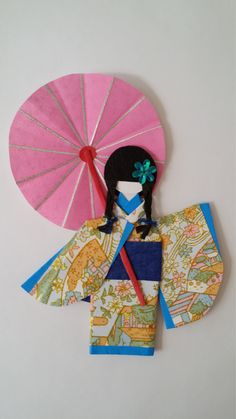 Origami Washi Ningyo (traditional Japanese Kimono paper doll) by www.facebook.com/kitspaperworld