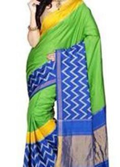 ikat parrot color saree