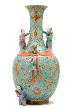 Chinese Famille Rose Glazed Molded Porcelain Boys Vase  Qianlong Gold Seal Mark and of the Period