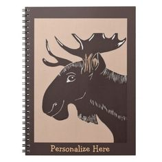 Sold! Thank you to the customers and enjoy! Brown Moose Art Personalized Notebooks; Abigail Davidson Art; ArtisanAbigail at Zazzle