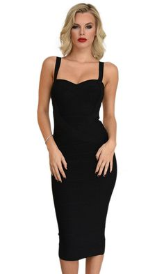 Under My Spell Black Sleeveless V Neck Sexy Bandage Bodycon Midi Dress