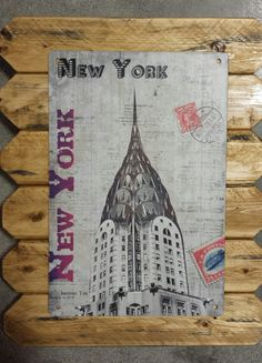 New York Retro Metal Poster Framed in Distressed Pinewood by ArtMaxAntiques on Etsy