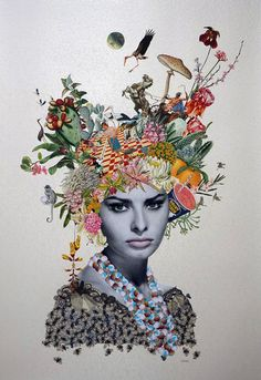 Maria Rivans - Maria Rivens is Collage artist - Art Du Collage, Flower Collage, Mixed Media Collage, Surrealist Collage, Face Collage, Nature Collage, L'art Du Portrait, Collage Portrait, Pop Art
