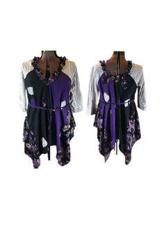 XL - Plus 1X Eco Tunic  Bohemian  Upcycled Tunic Dress / Tattered Clothing /  Shabby Chic Junk Gypsy Tunic Recycled Clothing / Tattered FX