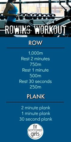 row your body fit with this workout! Rowing can be a challenge, but we think you're up for it!Row, row, row your body fit with this workout! Rowing can be a challenge, but we think you're up for it! Fitness Workouts, Easy Workouts, At Home Workouts, Monthly Workouts, Walking Workouts, Fitness Classes, Extreme Workouts, Wods Crossfit, Rowing Wod