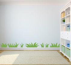Wohnideen Kinderzimmer Wandmalerei Gras