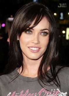 High Definition Lawmate Covert Power Plug Camera Probably the most beautiful colouring. Dark hair, dark eyebrows, pale skin and icy blue eyes. Haircuts For Fine Hair, Hairstyles With Bangs, Trendy Hairstyles, High Forehead Hairstyles, Megan Fox Hairstyles, American Hairstyles, Black Hairstyles, Dark Eyebrows, Megan Fox Eyebrows