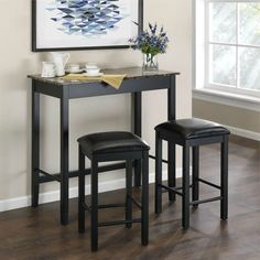 Black Wood Dining Set Pub Style Table Stools Chair Kitchen Home Bistro Furniture #BlackWoodDiningSet #Contemporary