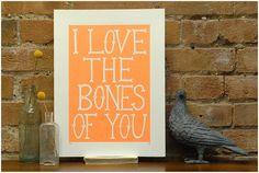 Bones - Fluro Print by Hazel Nicholls