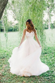 The prettiest blush pink wedding dresses of all time! http://www.stylemepretty.com/2015/05/19/the-prettiest-blush-pink-wedding-dresses/ Photography: Amelia Johnson
