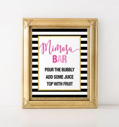 Kate Spade themed Party Mimosa Bar - Bridal Shower, Baby Shower and Birthday Printable