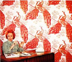 florence broadhurst in her office with amazing wallpaper
