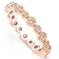 Chic and stylish, this rose gold band is adorned with alternating small (approx. and large mm) bezel diamonds with hand milgrain framing. Design is available in white, rose, yellow gold, and platinum. Rose Gold Jewelry, 18k Rose Gold, Diamond Bands, Gold Bands, Modern Jewelry, Vintage Jewelry, Pretty Wedding Rings, Womens Wedding Bands, Wedding Bride