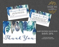 Baby Shower Multipack Coordinates with Boho Blue Feather