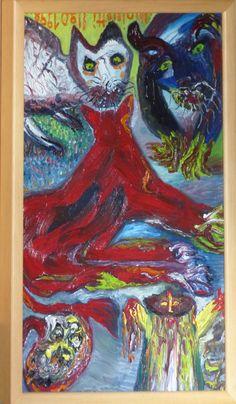 Eine Malerei des italienischen Art-Brut-Malers Ugo Mainetti, *1945, der ursprünglich Metzger war. Metzger, Art Brut, Illustration, Painting, Italy, Painting Art, Pictures, Paintings, Illustrations