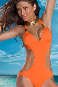 Orange Monokini Swimsuits