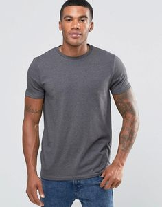 ASOS | ASOS Muscle T-Shirt With Crew Neck In Charcoal Marl at ASOS
