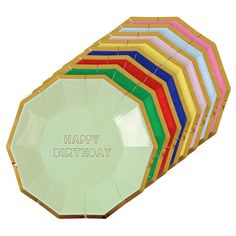 A charming set of large, coloured party plates for a birthday celebration with Happy Birthday slogan in shiny gold foil, with a gold foil border.Pack contains 8 party plates in different multi colours.Plate size: 7 x 7 inches. Happy Birthday Balloons, Happy Birthday Funny, Happy Birthday Sister, Happy Birthday Messages, Happy Birthday Parties, Birthday Desserts, Happy Birthday Quotes, Birthday Wishes, Birthday Ideas