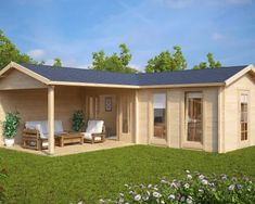 Large Corner Summer House with Veranda Hansa Deluxe B / / 3 x 7 m – Summer House 24 - Large Corner Garden Room with Veranda Hansa B - Corner Summer House, Summer House Garden, Winter Garden, Large Log Cabins, Contemporary Garden Rooms, Pavillion, Garden Cabins, Casas Containers, Backyard Sheds