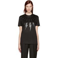 Neil Barrett Black Thunderbolt T-Shirt (£220) ❤ liked on Polyvore featuring tops, t-shirts, black, short sleeve tops, short sleeve t shirts, graphic t shirts, cotton jersey and neil barrett
