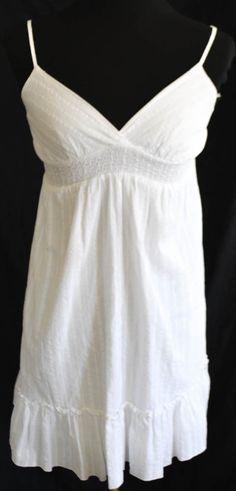 FOREVER 21 WOMEN'S/LADIES BOHO PEASANT WHITE SPAGHETTI STRAPS SUNDRESS SIZE S #FOREVER21 #Sundress #Casual