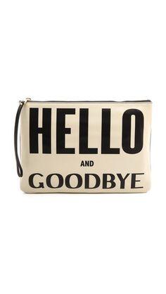 Karen Walker Hello Goodbye Clutch Creamblack in Black (Cream/Black) - Lyst Best Handbags, Black Handbags, Purses And Handbags, Hello Goodbye, Bags 2014, Fall Bags, Oversized Clutch, What In My Bag, Black Clutch