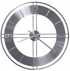 Howard Miller Stapleton Gallery Wall Clock Satin Nickel - This contemporary wall clock features bright, shiny metal and a clean design. Howard Miller Wall Clock, How To Make Wall Clock, Thing 1, Grandfather Clock, Distressed Painting, Metal Finishes, Wrought Iron, Wood Wall, Gallery Wall