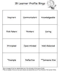 IB Learner Profile Bingo