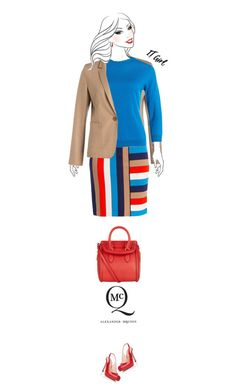 Office outfit: Red - Cobalt by downtownblues on Polyvore #officewear  #knits #pencilskirt  #colorblock  #satchel  #slingbacks  #AlexanderMcQueen