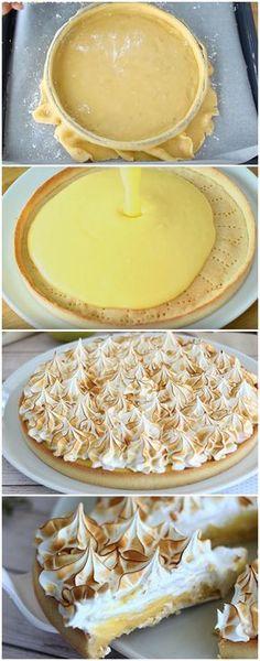 TORTA DE LIMÃO COM MERENGUE! CREMOSA, DELICIOSA, FÁCIL... IRRESISTÍVEL! (veja como fazer) #torta #limão #tortadelimão #merengue