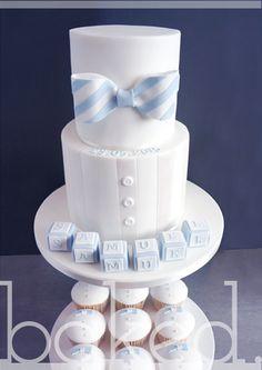 Baby Boy Bow Tie Christening Cake