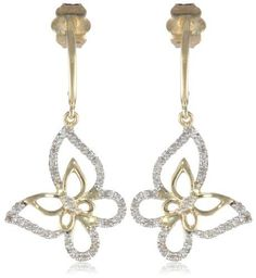 10K Yellow Gold Diamond Butterfly Earrings 110 cttw -- You can get more details by clicking on the image.
