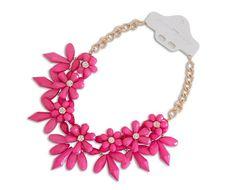 XXL Luxus Statement Halskette Kette Collier Stachel Blumen in der Farbe pink NEU