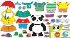 Calendar Idea:  as part of calendar activity, have a student dress a character, here a panda, with the appropriate outfit for the weather.