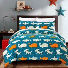 Top fashion fish themed twin size bedding sets in soft color that create a luxurious feminine look. The holiday style fishing themed fish print twin size bedding sets are reversible, so you can instantly change the appearance of your bedroom. Kids Twin Bedding Sets, Girls Bedroom Sets, King Bedding Sets, Small Room Bedroom, Luxury Bedding Sets, Queen Size Bedding, Bedroom Ideas, Kids Bedroom, Shark Bedroom
